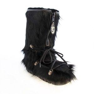 Black Cow Skin Boots